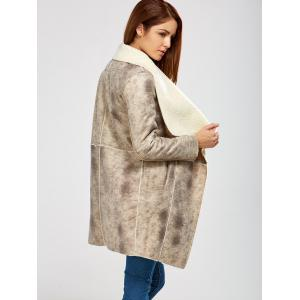 Fleece Lining Suede Look Shawl Coat - GRAY S