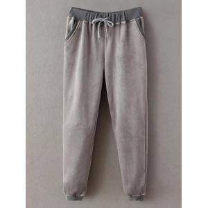 Embroidered Sweatshirt and Drawstring Gym Pants Jogging Suit - GRAY M
