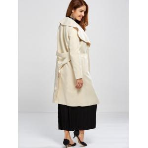 Shawl Collar Wool Blend Belted Wrap Coat - OFF-WHITE L