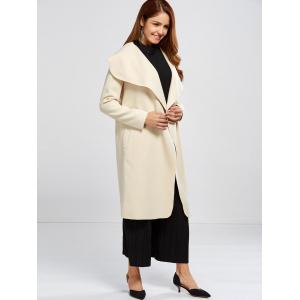 Shawl Collar Wool Blend Belted Wrap Coat - OFF WHITE L