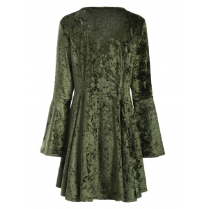 V Neck Bell Sleeve Velvet Fit and Flare Dress - GREEN L