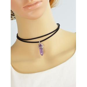 Layered Rope Faux Gem Bullet Choker Necklace - PURPLE