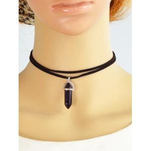 Layered Rope Faux Gem Bullet Choker Necklace - BLACK