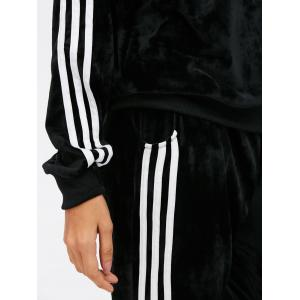 Sporty Velvet Hoodie and Running Jogger Sweatpants - BLACK L