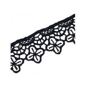 Concise Lace Floral Openwork Choker - BLACK