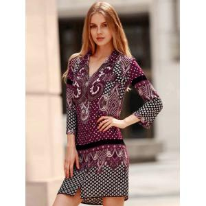 Vintage V-Neck Three Quarter Sleeve Floral Print Women's Straight Dress -