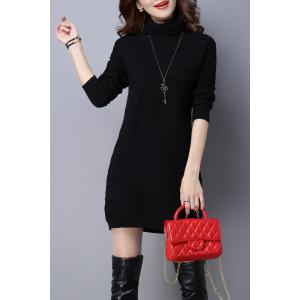 High Neck Long Sleeve Knitted Dress