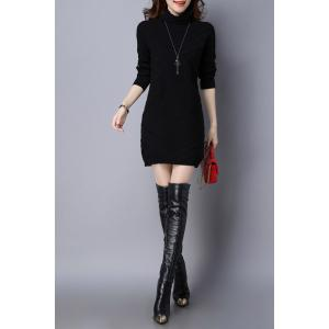 High Neck Long Sleeve Knitted Dress -