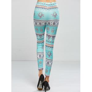 Stretchy Printed Leggings - LIGHT GREEN ONE SIZE