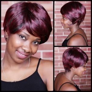 Short Double Color Neat Bang Spiffy Straight Synthetic Wig -
