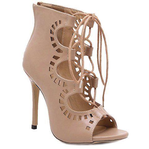 Chic Fashion Lace-Up and Hollow Out Design Peep Toe Shoes For Women