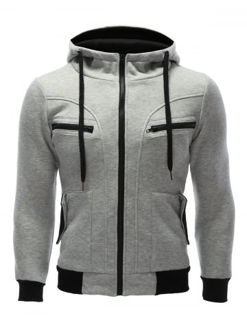 Hot Zipper Embellished Patchwork Hoodie with Pockets GRAY XL