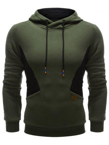 New Color Splicing PU Leather Embellished Hoodie ARMY GREEN XL