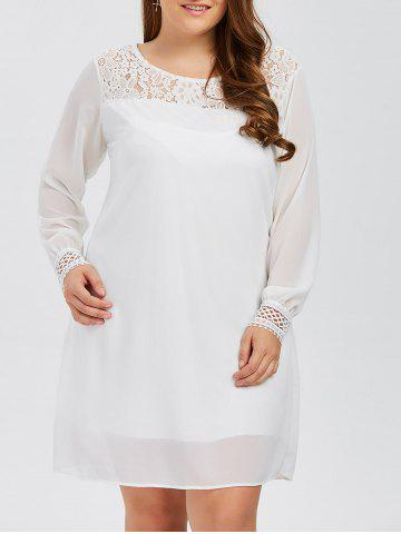 Store Plus Size Lacework Insert Long Sleeve Modest Work Dress WHITE 5XL