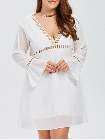 Outfits Plus Size Flare Sleeves Low Cut A LineSwing Dress WHITE 5XL