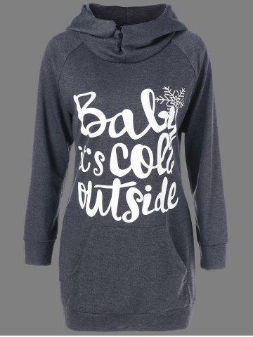 Christmas Long Funny Dark Grey Hoodie - GREY/WHITE M