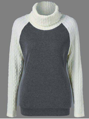 Affordable Raglan Sleeve Patchwork Knitwear