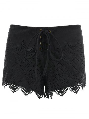 Sale Suede Lace-Up Openwork Scalloped Shorts