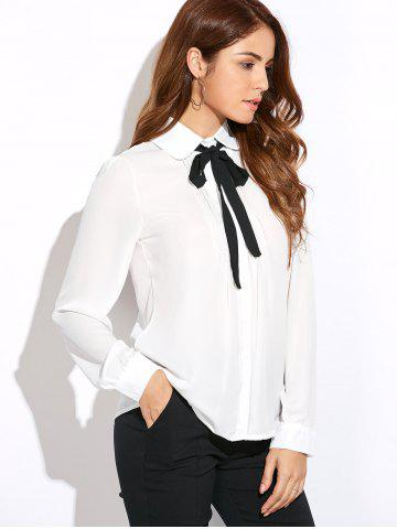New Bow Tie Collar Chiffon Blouse