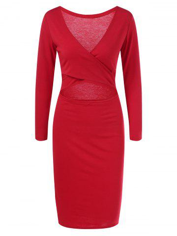 Fashion Plunge Criss Cross Long Sleeve Sheath Dress RED S
