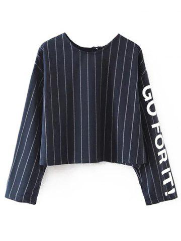 Tie Backless Stripe Letter Sweatshirt