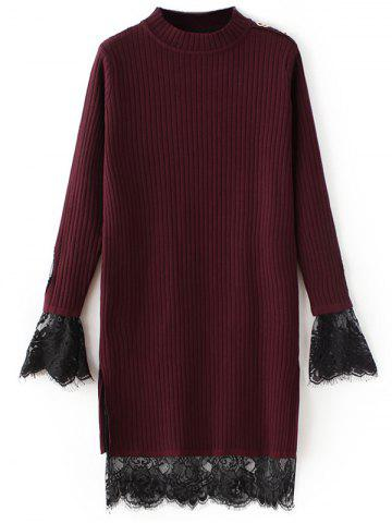 Latest Lace Panel Ribbed Layered Sweater Dress