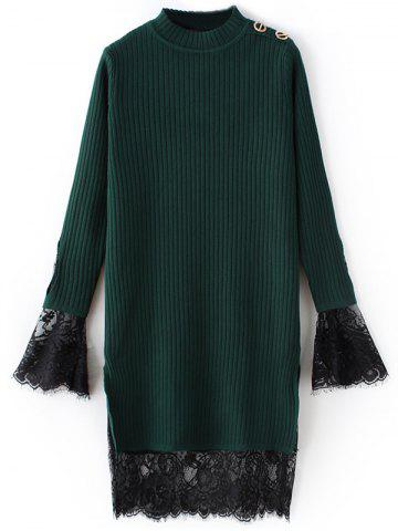Lace côtelé Panel Sweater Dress