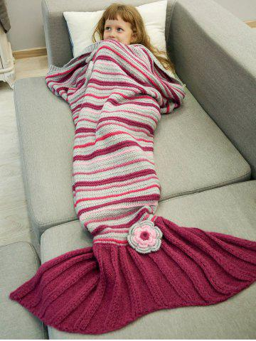 Outfit Stripe Crochet Sleeping Bag Wrap Mermaid Blanket For Kids RED
