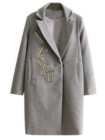Store Letter Embroidered Wool Coat With Pocket GRAY L