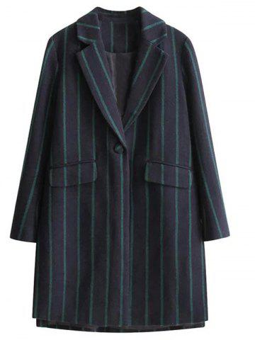 Hot Vertical Stripe One Button Wool Coat