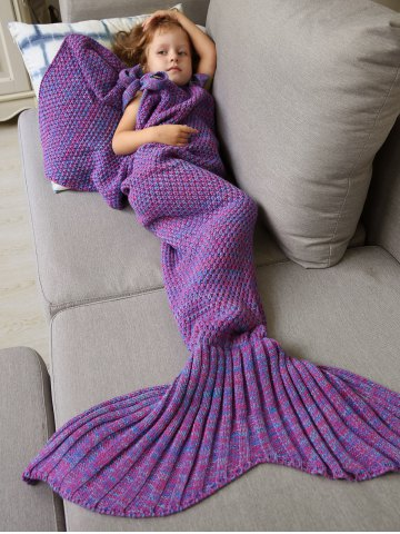 Winter Sleeping Bag Bed Throw Wrap Mermaid Blanket - PURPLE