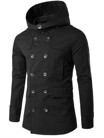 Shop Lapel Collar Double Breasted Hooded Coat BLACK XL