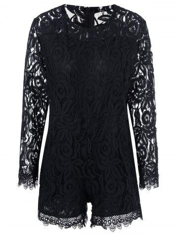 Latest Plus Size Sheer Long Sleeve Lace Romper