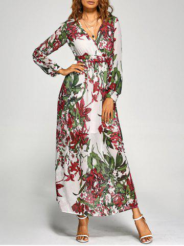 Outfits Chiffon Floral Long Sleeve Maxi Surplice Dress WHITE S