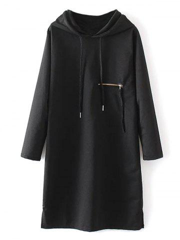 Unique Zipper Insert String Hoodie Dress