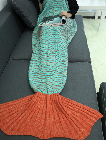 Affordable Knitted Wave Stripes Mermaid Tail Blanket