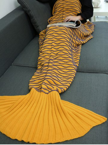 Online Warmth Wavy Line Design Knitted Mermaid Blanket