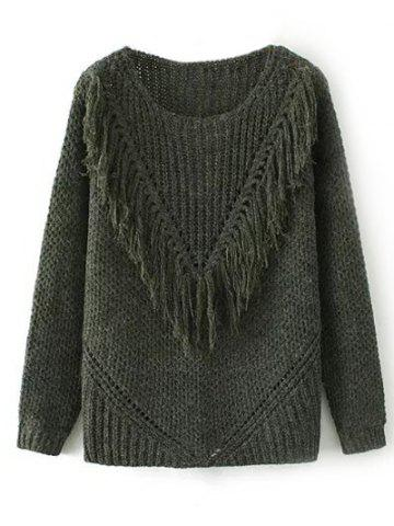 Sale Ribbed Tassel Chunky Sweater
