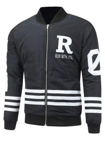 New Striped Zip Up Graphic Padded Jacket