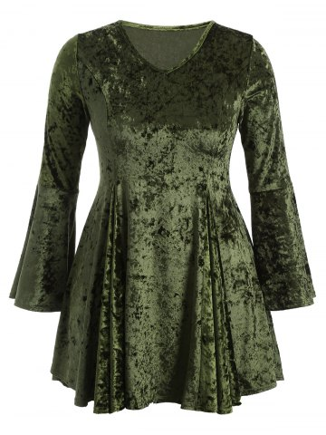 Fancy Bell Sleeve Velvet Fit and Flare Cocktail Dress GREEN 3XL