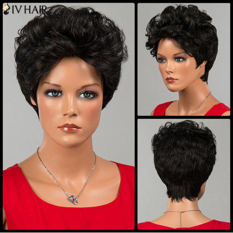 Shops Siv Hair Short Shaggy Curly Human Hair Wig JET BLACK