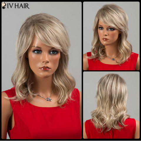Sale Siv Hair Medium Inclined Bang Wavy Human Hair Wig COLORMIX