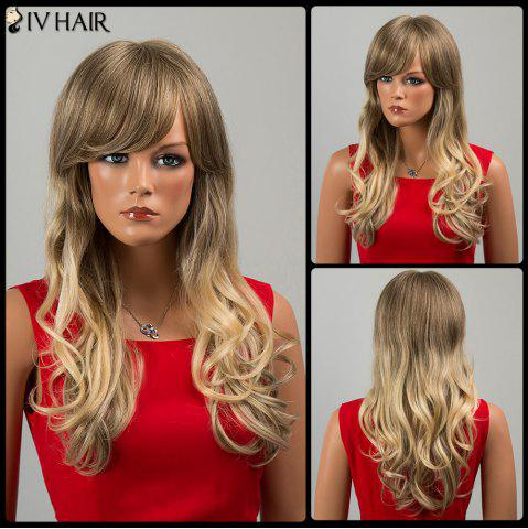 Trendy Siv Hair Long Side Bang Wavy Human Hair Wig