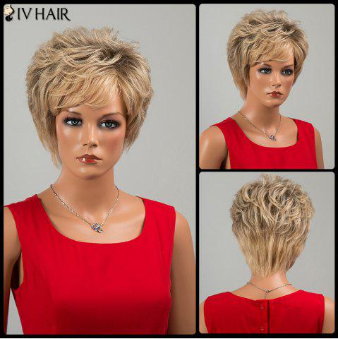 Unique Siv Hair Short Fluffy Side Bang Slightly Curled Human Hair Wig