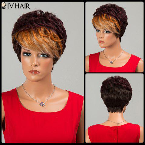 Shops Siv Hair Short Fluffy Neat Bang Layered Curly Human Hair Wig