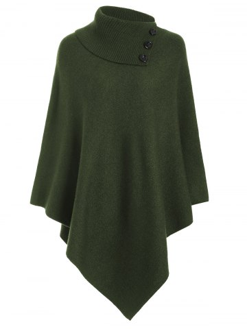 Asymmetric Pullover Cashmere Cape - Grass Green - One Size