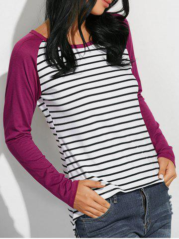 Latest Loose Stripe Raglan Sleeve T-Shirt - M WINE RED Mobile