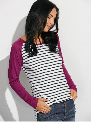 Outfits Loose Stripe Raglan Sleeve T-Shirt - M WINE RED Mobile