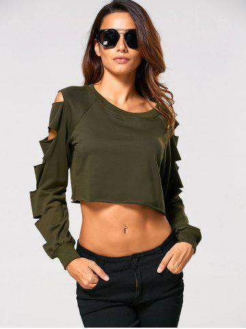 Store Long Sleeve Ripped  Cropped Sweatshirt - XL ARMY GREEN Mobile