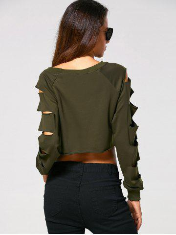 Buy Long Sleeve Ripped  Cropped Sweatshirt - XL ARMY GREEN Mobile